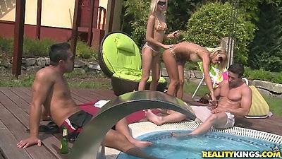 Outdoor euro bikini babes Valentina Valenti and Erica Fontes