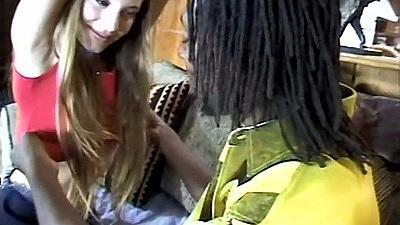 Teen Aurora Snow sucking and touching nice fat black cock