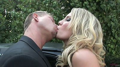 Making out blonde Kiara Diane outdoors by the limo