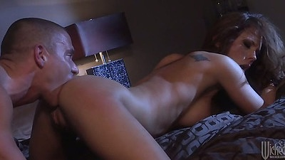 Ass licking brunette Kirsten Price with nice athletic body and ejaculation