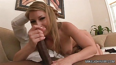 Interracial handjob from Avy Scott then sucking black cock