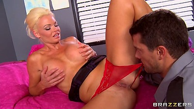 Pussy licking milf Rhylee Richards with pulled aside panties and blowjob