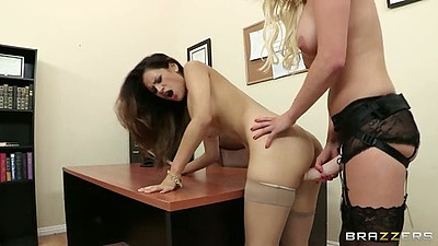 Doggy style strapon lesbian hardcore sex in the office with Vanessa Veracruz