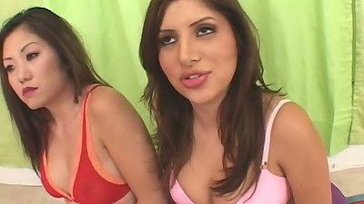 Sativa Rose and Kaiya Lynn are asian latina girls in bras and panties talking