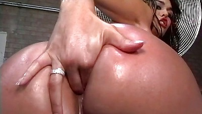 Great self ass anal fingering with Olivia O getting oil on ass