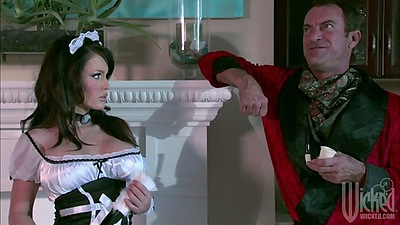 Maid Jenna Presley shows big tits and pulls down her panties then scuks