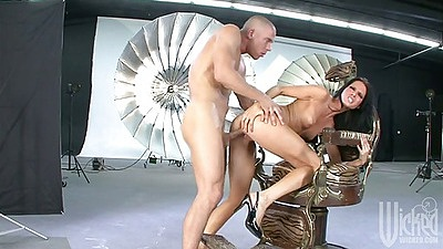 Big dick doggy style standing fuck with Jennifer Dark and reverse cowgirl sex