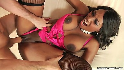 Pulled aside panties ebony Naomi Banxxx gets fucked by white cock