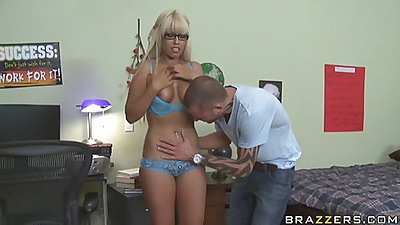 Blonde whore with glasses stripped nude
