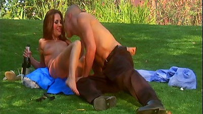 Picnic time with Kirsten Price sucking some balls outdoors