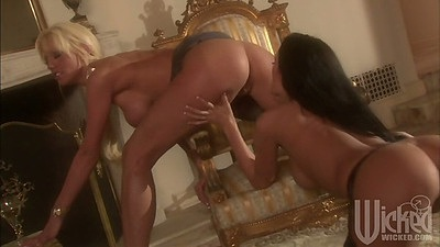 Nice ass classy lesbians Tanya James and Alektra Blue using dildos in pussy