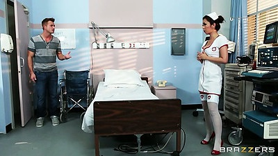 Sexy asian nurse or doctor Marica Hase makes patient happy