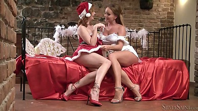 Lesbian Tara White and Silvia Saint touching their boobies