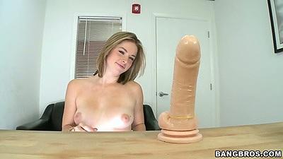 Medium tits Sierra Sanders sucking and fucking large dildo