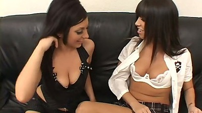Lesbian girls Franchezca & Roxy making out and undressing