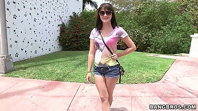 Outdoor public 18 year old teen pick up with Olivia Olove