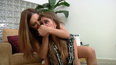 Rough sex lesbian mouth spreading domination blowjob from Riley Reid and Francesca Le