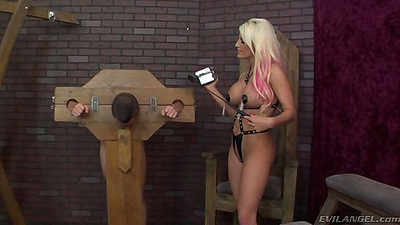Horny big tits mature milf Jacky Joy bondaged up a ban in chains