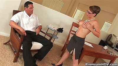Sexy milf office topless blowjob and licking Holly West