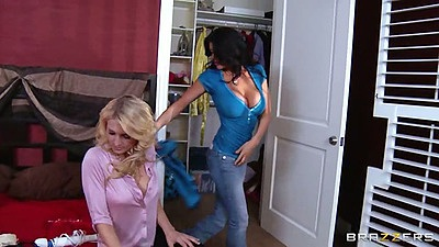 Hot lesbian milf chicks Romi Rain and Alicia Secrets in sexy lingerie masturbation