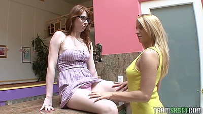 Lesbian fully clothed and fingering Lexi and Madisin