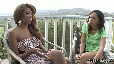 Ebony latina outdoor chatting and undressing with Florence Dolce and Emily Benjamins