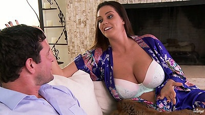 Huge tits milf flashing her tits in a bra to man Alison Tyler