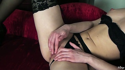 Masturbation with panties to the side with small tits Patricia in stockings