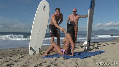 Anissa Kate picked up on the beach by two surfers looking to bang her