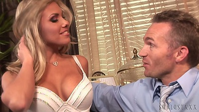 Busty blonde Aubrey Addams doing her job application and a fuck