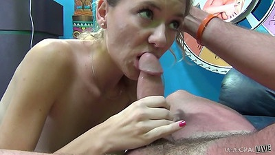 Alison Faye blowjob looking up at the guy with beautiful eyes