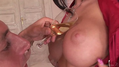 Pouring some juice on her tits and anus view with pulled aside panties from Roxy Panther