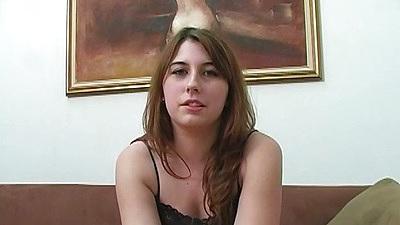 Brunette teen Aza Haze talks about sex and then sucks