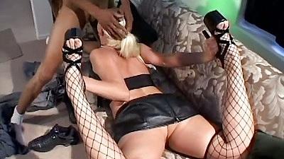 Deep throat blonde Nikki Hunter sucking massive black dick