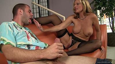 Great large juggs milf in stockings Jody West sucking a penis