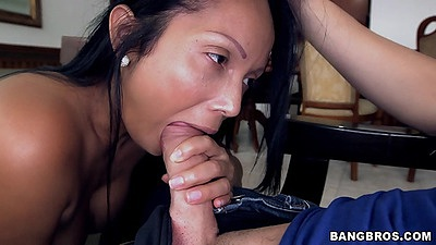 Nice milf maid latina Casandra blowjob and big ass over chair bang