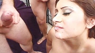 Facial and deep throat cum dripping facial sluts scene