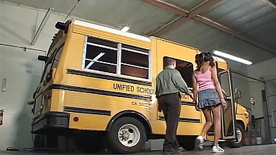 Young asian hooker goes to the school bus Lily Thai