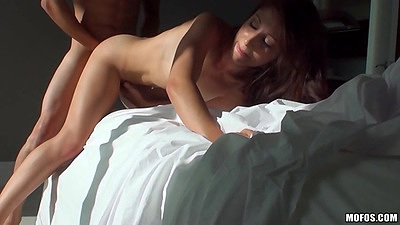 Doggy style sex on bed with latina Alexa Rydell