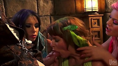 Riley Steele and Casey Calvert with Claire Robbins in costume cock sucking orgy