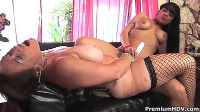 Fishnet sex toy girl on girl action with Anita Cannibal and Mahina Zaltana milfs