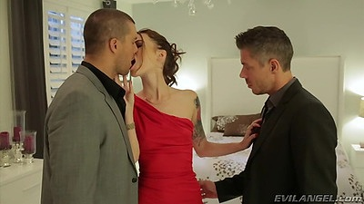 Threesome undressing with Misha Cross going at dicks