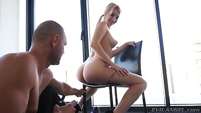 Sitting on a chair latina Daytona X sits on guys face then gives him head