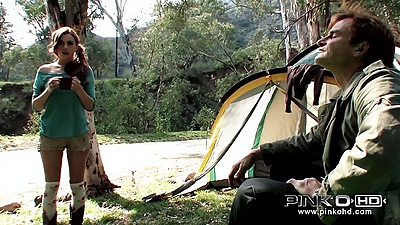 Outdoor twins blowjob with perky girls teens Tati Russo and Taylor Russo camping