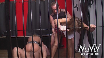 Swingers in a cage fuck with Manuela E and Simona Ja mature gilfs