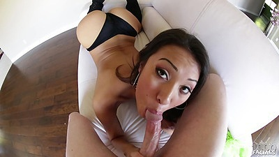 Blowjob with asian slut Jayden Lee in pov view with ball sucking