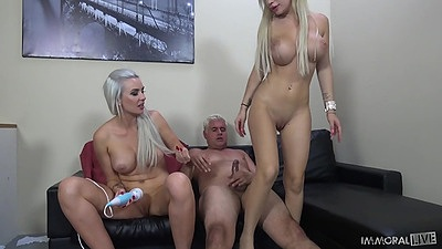Busty blondes with perfect skinny body in 2 on 1 hardcore Gigi Allens and Bibi Noel