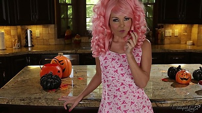 Sexy costume chicks gets naughty on the kitchen table