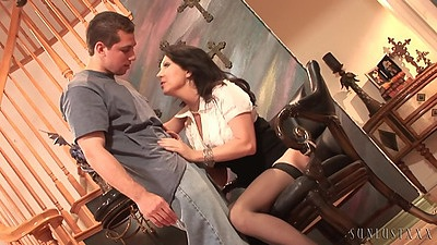Undressing hairy milf in stockings moves down to suck shaft RayVeness the step mom