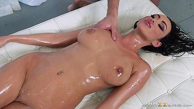 Big tits oil massage and fingering Breanne Benson